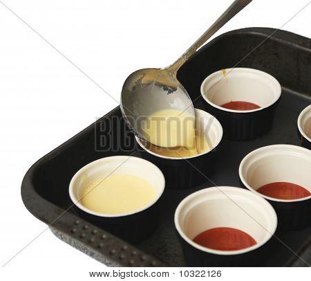 Making Creme Caramel.