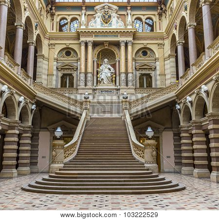 Neo Renaissance Building With Statue Justice In The Palace Of Justice In Vienna