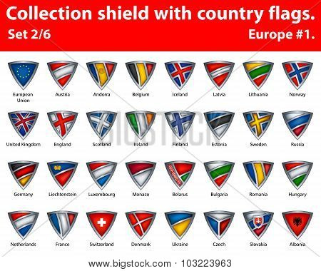 Collection shield with country flags. Part 2 of 6