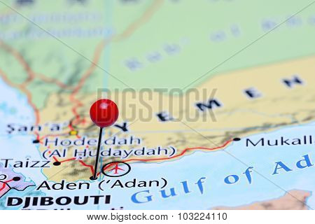 Aden pinned on a map of Asia