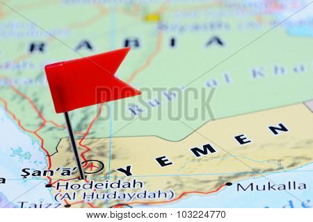 Sanaa pinned on a map of Asia