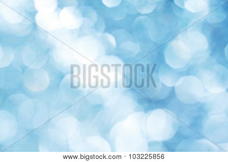 Blue bokeh abstract light holiday background