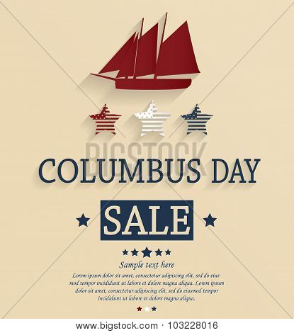 Columbus Day sale card