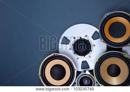 Audio Sound Speakers and Open Reel Objects Collection Set