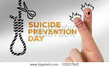 Finger characters against suicide prevention day message