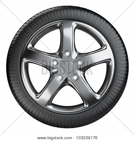 Modern Car Wheel Front View Isolated On A White Background