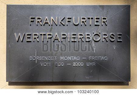 Sign Frankfurter Wertpapierboerse - German Stock Exchange
