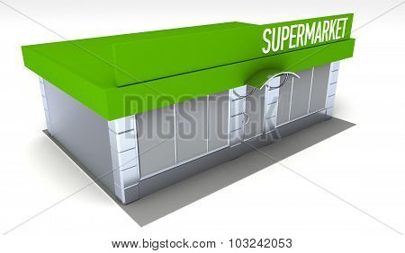 Illustration of shop or minimarket kiosk. Exterior poster