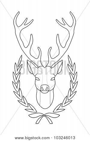 Deer head in laurel wreath. Contour