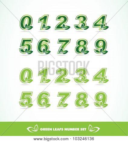 Green Leaf Logo Number Set