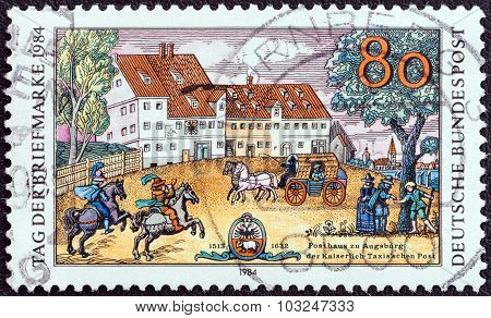 GERMANY - CIRCA 1984: A stamp printed in Germany shows Taxis Posthouse, Augsburg