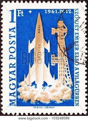 HUNGARY - CIRCA 1961: A stamp printed in Hungary shows launching of Rocket Vostok