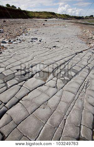 Jurassic Period Lias Stone On An Exmoor Beach