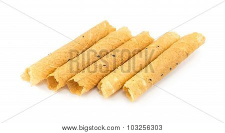 Tong Muan (a Type Of Rolled Wafer, A Traditional Dessert In Thailand) Isolated On White Background