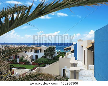 Luxury View Of Greek Village On Crete Tropical Minoan Style Architecture