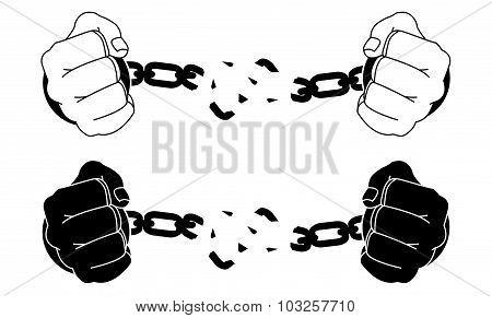 Male hands breaking steel handcuffs. Black and white vector illustration isolated on white poster