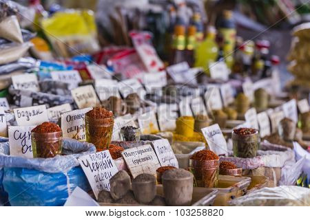 Beautiful Vivid Oriental Market With Bags Full Of Various Spices In Osh Bazaar In Bishkek, Kyrgyzsta