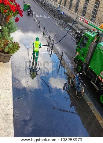 Street washer in Paris
