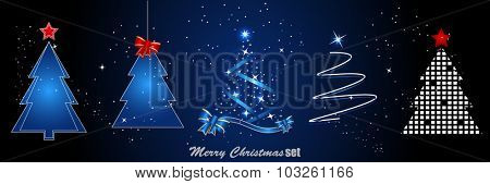 Set of christmas trees. Vector illustration.