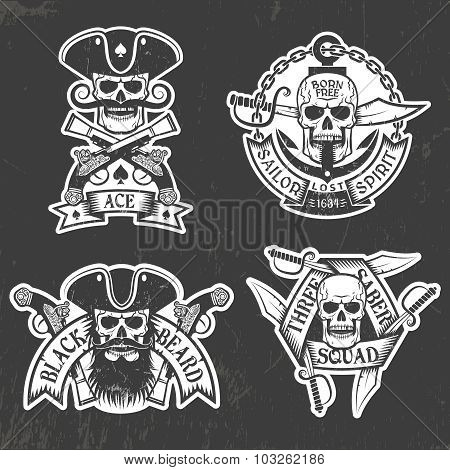 Pirate skull stickers