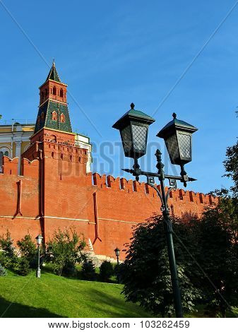 The Red Kremlin Wall in Moscow. Russia poster