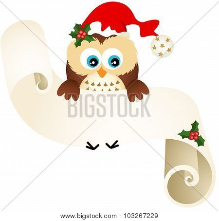 Owl with wishlist for Christmas on a parchment