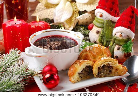 Christmas Eve Red Borscht With Pastries