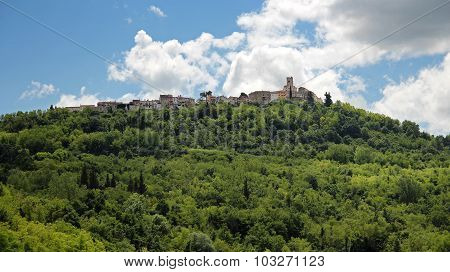 Landscape With Hill, Forest And Old Town Architecture