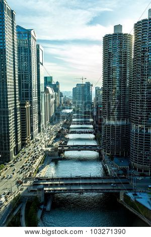 CHICAGO, USA - CIRCA MAY 2015: Aerial view of Chicago downtown in Illinois, USA