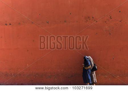 Marrakesh Morocco - Circa September 2015 - arabic people in morocco