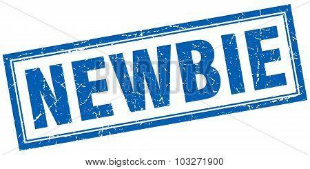 Newbie Blue Square Grunge Stamp On White