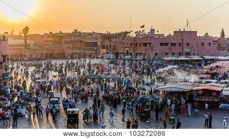 Marrakech, Morocco - Circa September 2015 - Marrakechs Central Place Djemaa El Fna