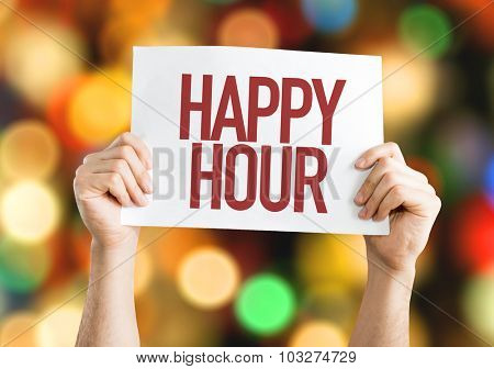 Happy Hour placard with bokeh background
