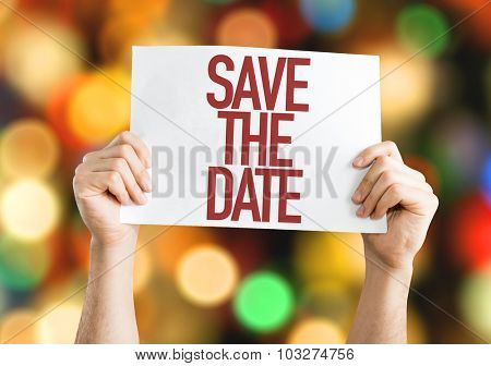 Save The Date placard with bokeh background
