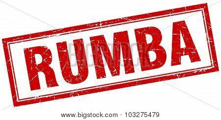 Rumba Red Square Grunge Stamp On White