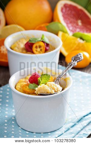 Citrus pudding in smal ramekins