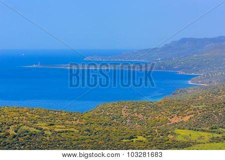 Mediterranian seashore landscape aerial view sea coast