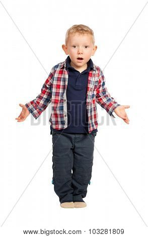 cute child open arms surprise expression on white