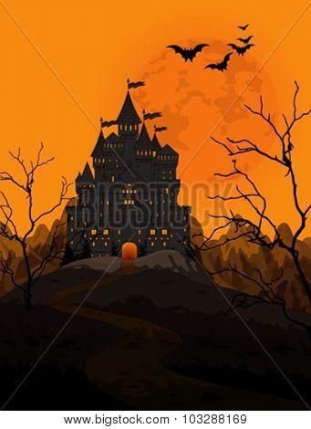 Illustration of spooky haunted kingdom on night background