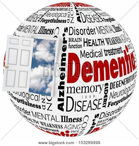 Dementia word collage on a globe and door with cloud backgroundto illustrate alzheimer's disease, a memory disorder or brain or mind condition