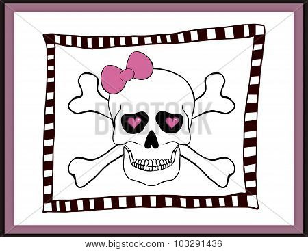 Skull With Bow And Hearts In An Eye Sockets Card