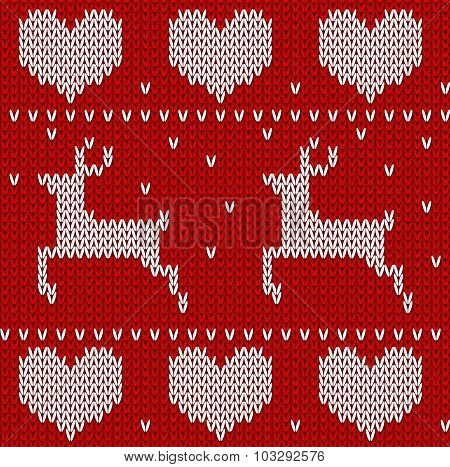 Red Knitted deers sweater in Norwegian style. Knitted Scandinavian ornament. Vector seamless pattern poster