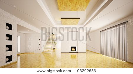 Interior Of Modern Empty Apartment Panorama