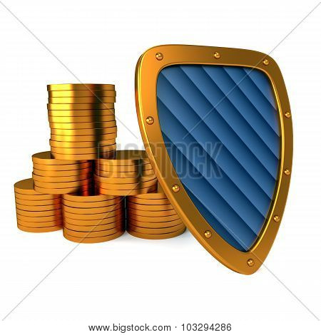 shield with dollar sign, excellent 3d illustration