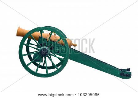 Ancient wheeled cast iron cannon isolated on white background poster