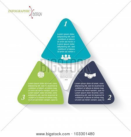Business Infographic Design With Triangles. Can Be Used For Presentation, Web Design, Workflow