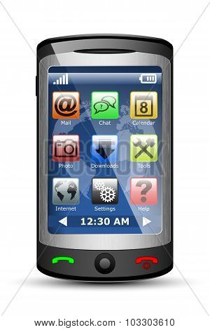 Vector Cell Phone With Icons
