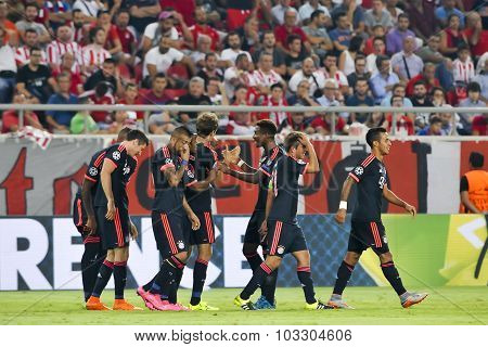 Players Of Bayern Munchen Celebrate Their Victory During The Uefa Champions League Game Between Olym