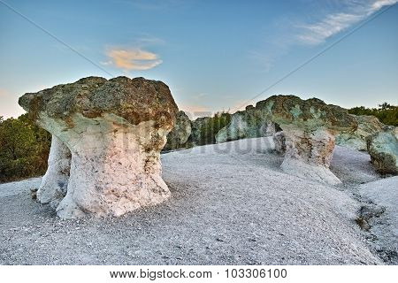 Sunrise at a rock phenomenon The Stone Mushrooms near Beli plast village, Kardzhali Region