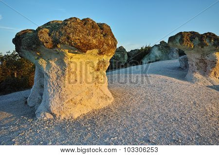 Sunrise at a rock phenomenon The Stone Mushrooms